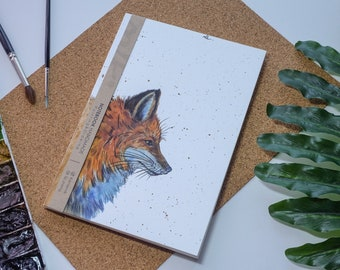 Fox aquarelle carnet de notes à la main, couverture rigide journal, Illustration, carnet, carnet de croquis, journal intime, cadeau, 21 × 14.8