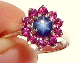 Taille 9, naturel Blue Star Sapphire, bague en argent Sterling, Rhodolite naturel Halo grenat, pierres naturelles, cadeau de dames, Promise Ring, OOAK
