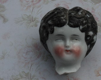 "China Doll Head 2"" Painted Glazed White Porcelain Antique German Broken"