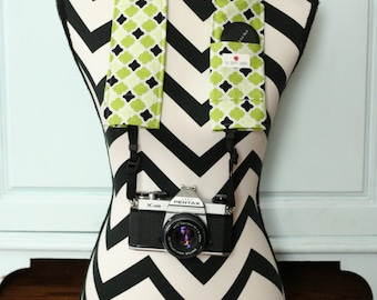 DSLR Camera Strap Cover- lens cap pocket and padding included- Lime and Black