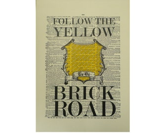 Vintage Inspired Follow The Yellow Brick Road Dictionary Page Art Print P002