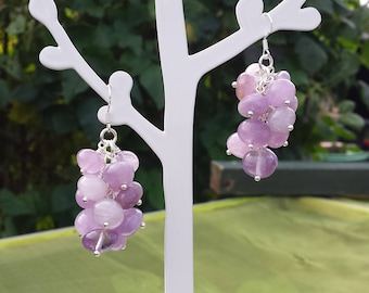 Berry Cluster Earrings. Amethyst Nuggets,Sterling Silver Ear Wires,Drop,Dangle,Cluster,Womens,Gift,Jewellery,Jewelry,For Her,Unusual,Unique