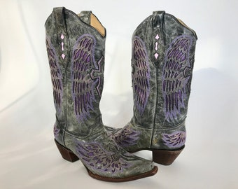 Corral  Western Boots Womans Size 10 Tall Leather Gray Purple Wings Laser Cut