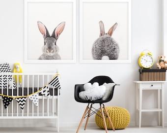 Bunny Butt, Rabbit Print, Nursery Wall Art, Woodland Animals, Baby Animal Prints, Bunny Tail, Nursery Decor, Nursery Animals, Printable Art
