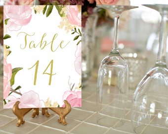 Pink Peony Gold Table Numbers 1-30, Printable Wedding Table Numbers, Wedding Table Decor, 4x6  Card, Instant Download, rose, blush