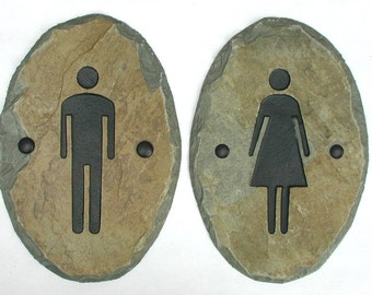 SLATE Bathroom Signs / Stone / Door Plaque / Ladies Men / Restroom ADA #E-mw