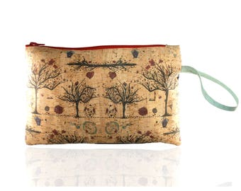 Handmade stamped hand bag with cork