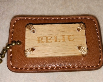 Relic leather and wood tag with chain