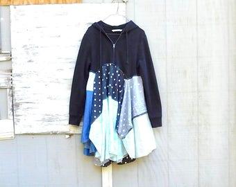 Upcycled Dress Women, Black Hoodie, Boho, Bohemian, Sweater Dress, Cotton Dress, Patchwork, Winter Tunic, CreoleSha