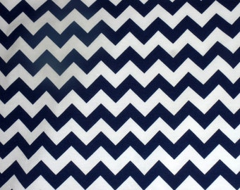 Riley Blake Navy Chevron Cotton Spandex Knit Fabric  - K340-21 Navy Blue Small Chevron Stretchy Knit - Kids Cotton Lycra Knit Fabric -