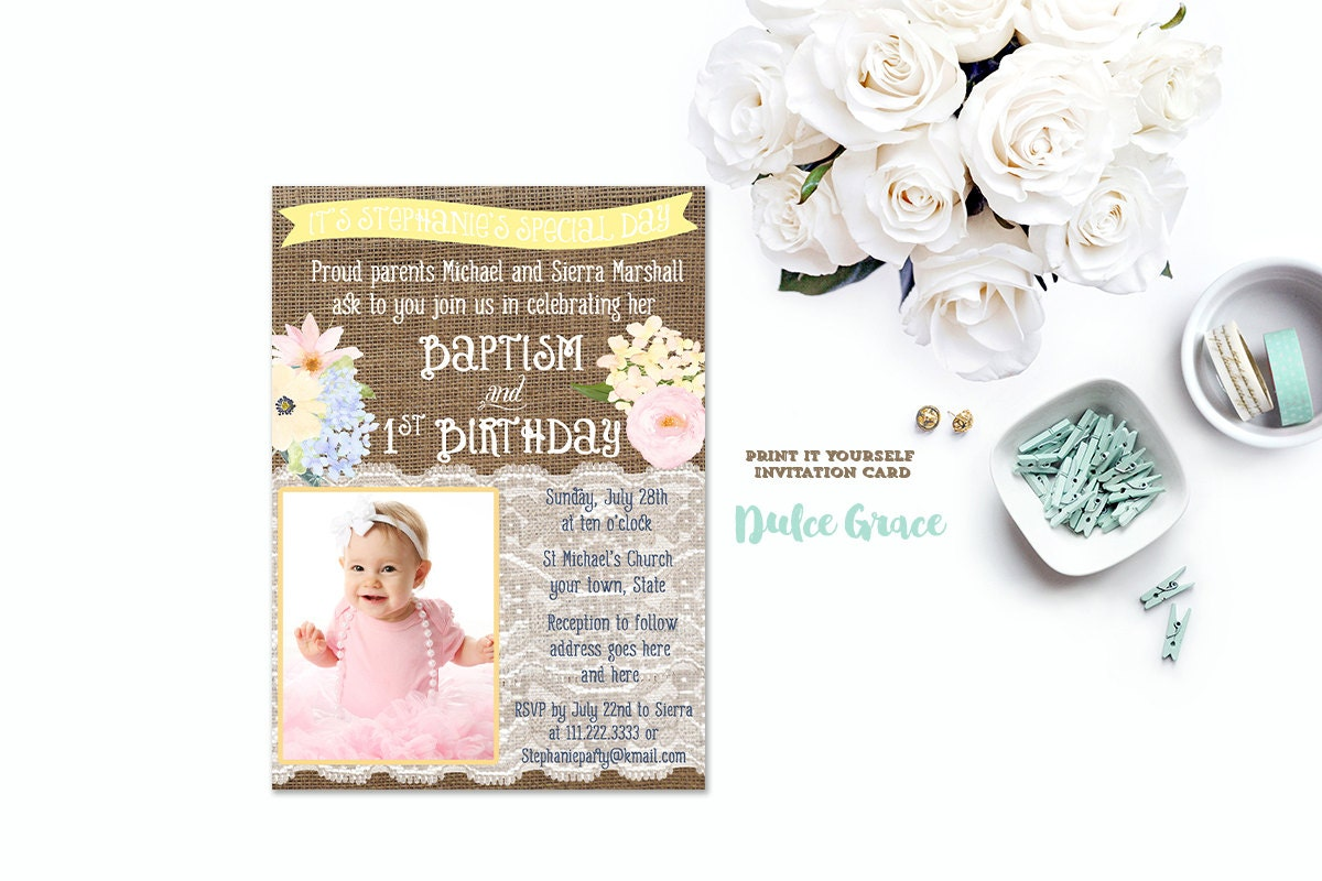 Sample Of Invitation Card For Christening And 1st Birthday.  zoom 1st birthday and baptism invitation DIY PRINTABLE