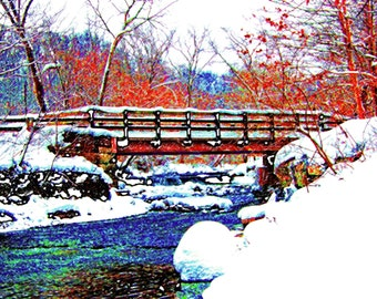 Dreamy Winter Bridge 4x6 Hemlock Creek Cleveland Metroparks Ohio Landscape Photograph Print