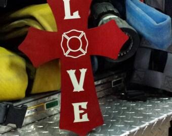 Firefighter LOVE wooden cross.
