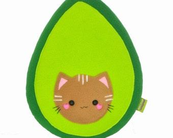 Avokitty plushie / handmade avocat pillow avogato plush toy cat kawaii avocado
