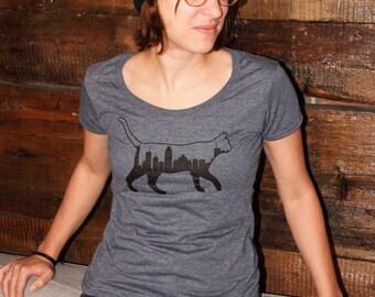 T-shirt chat/ville/Montreal sky line/bleu cendré/femme