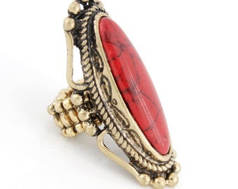 Vintage Retro Gold-tone RED Long Natural Turquoise Stone Elastic String RING,Stretchy B6