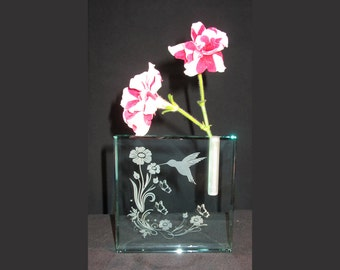 Jade Glass Bud Vase, Personalized Engraved Thick Block Bud Vase, Glass Gift, Glass Award, Engraved Vase, Custom Glass, Hummingbird Flowers
