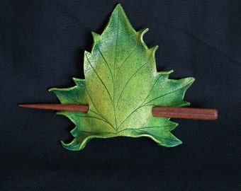 Green Maple Leaf Leather Hair Cup