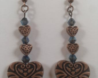 Antique copper and blue glass bead earrings.