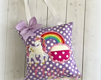"Purple unicorn tooth fairy pillow - personalized girls tooth fairy pillow - rainbow unicorn tooth fairy pillow - 8"" tooth fairy pillow"