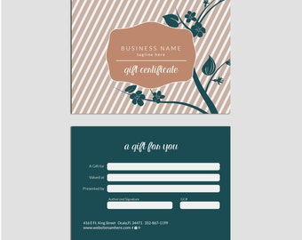 SALE Elegant Blossom double sided gift certificate design - Instant download