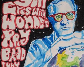 Ray Bradbury Psychedelic Art 11x14