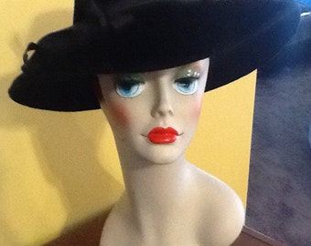 Vintage Black Wide Brim Floppy Hat Robin Of New York Imported Made In Great Britain Fedora Floppy