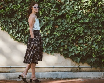 Navy Cotton Skirt with POCKETS
