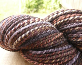 "Handspun Yarn Worsted Polwarth-Silk 240 yds. ""Pansy"""