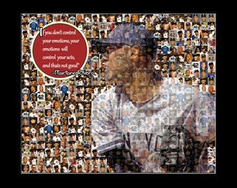 "Mariano Rivera Photo Mosaic Print Art Designed using 50 Different Photo Images. 8x10"" Matted-Handmade"