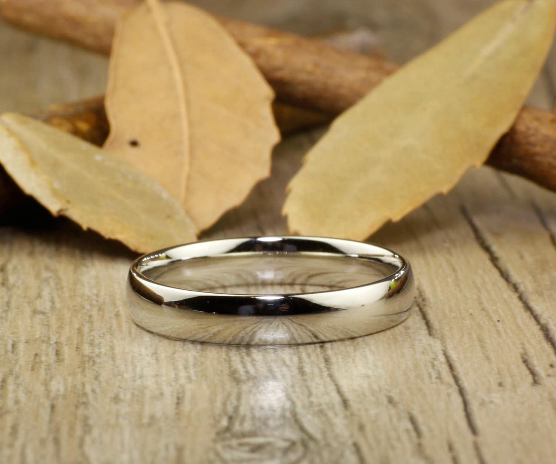 Handmade Dome Plain Polish Wedding Band Women Ring Couple