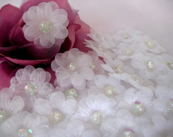 White Organza Flower 2 layered Sequin, Bead Center Appliques for Sewing, Crafting, Doll Clothing, headbands - 1 inch / 25 mm, 20 pcs
