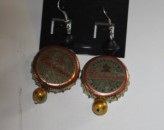 Vintage Budweiser cap Earrings