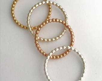 Handmade beaded wire stacking ring Silver stacking ring Gold ring Rose gold ring