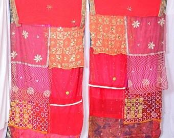 Bohemian Gypsy Curtain curtains boho curtains scarfs kantha Red fushia hot reds C99