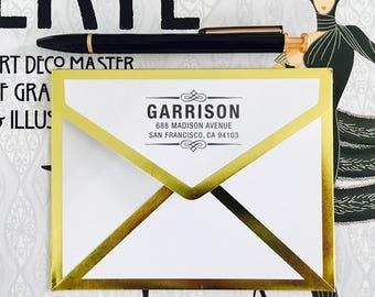 Custom Address Stamp, Self Ink Return Address Stamp, Family Address Stamp, Rubber Address Stamp, Scroll Address Stamp, Art Deco Stamp, Gifts