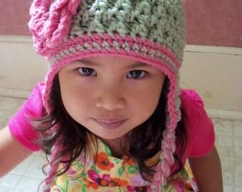 Crochet Children Hat,Toddler Hat, Baby Girl Hat, Crochet Earflap hat In Sage Green and Pink
