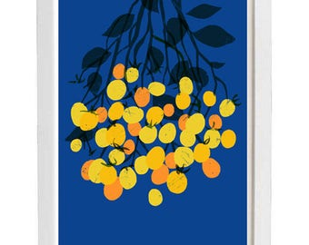 "Yellow Cherry tomatoes Kitchen Art Print  11""x15"" - archival fine art giclée print"