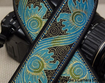 "Custom Camera Strap 2"" Wide Baroque Turquoise Brown DSLR SLR P&S 5494"