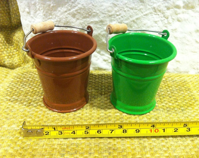 Vintage Tin Toy Bucket 2 pieces dollhouse accessoires miniature
