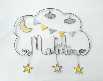 "Name wire personalized ""walk under the Moon and stars"" nursery wall decor"