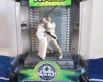 "Star Wars Princess Leia and Luke Skywalker Silver Anniversary ""Swing to Freedom"" 2001 New in Package + Bonus Bag"