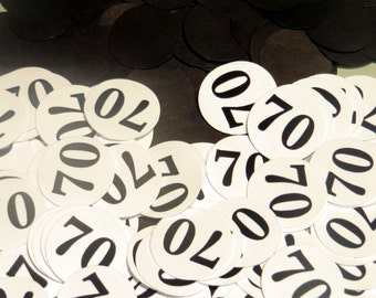 70th Birthday Party Confetti 3/4 Inch Circles - Black and White or Your Colors