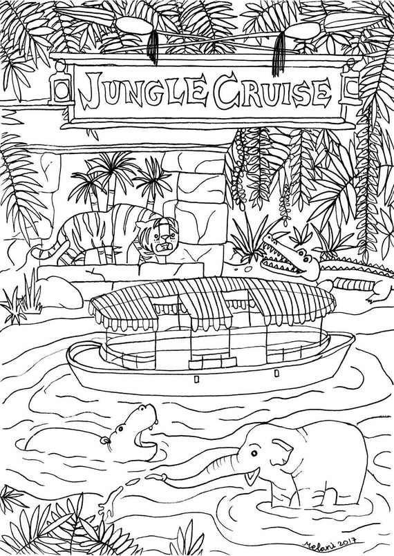 disney rides coloring pages | Disney Inspired Jungle Cruise Coloring Page Printable
