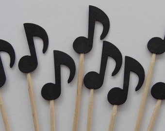24 Black Music Note Party Picks - Cupcake Toppers - Food Picks