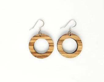 The Marie,zebra wood, wood hoop earrings, handcrafted earrings, lightweight earrings,laser cut, weightlesswood, hoop earrings. l