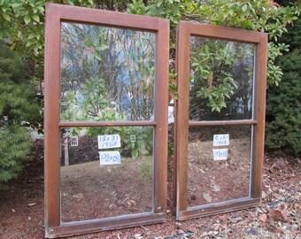 2 - 18 x 31 Vintage Window sash frames old 2 pane from 1958 Arts& Crafts