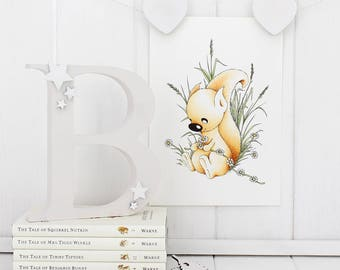 Squirrel print, Baby girl 1st birthday gift for Daughter, Niece, sister, friend Animal Gift, Baby Girl Nursery decor, Wall Art Room Decor