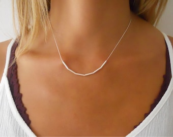 Simple Silver Necklace, Delicate Sterling Silver Necklace, Tube Beads Silver Necklace, Layering Silver necklace, Minimal Silver Necklace,