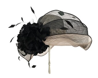 """Women's Kentucky Derby Hat, Downton Abby Style, Sinamay, Garden Wedding, Bridal Luncheon Hat in Black and Grey - """"Meet Me At The Wellesley"""""""